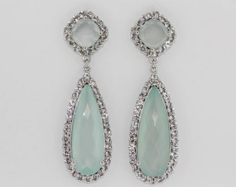 925 Green Chalcedony w/ White Topaz Earring