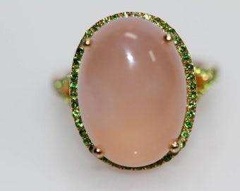 925 Vermeil Rose Quartz / Chrome Diopside Ring .