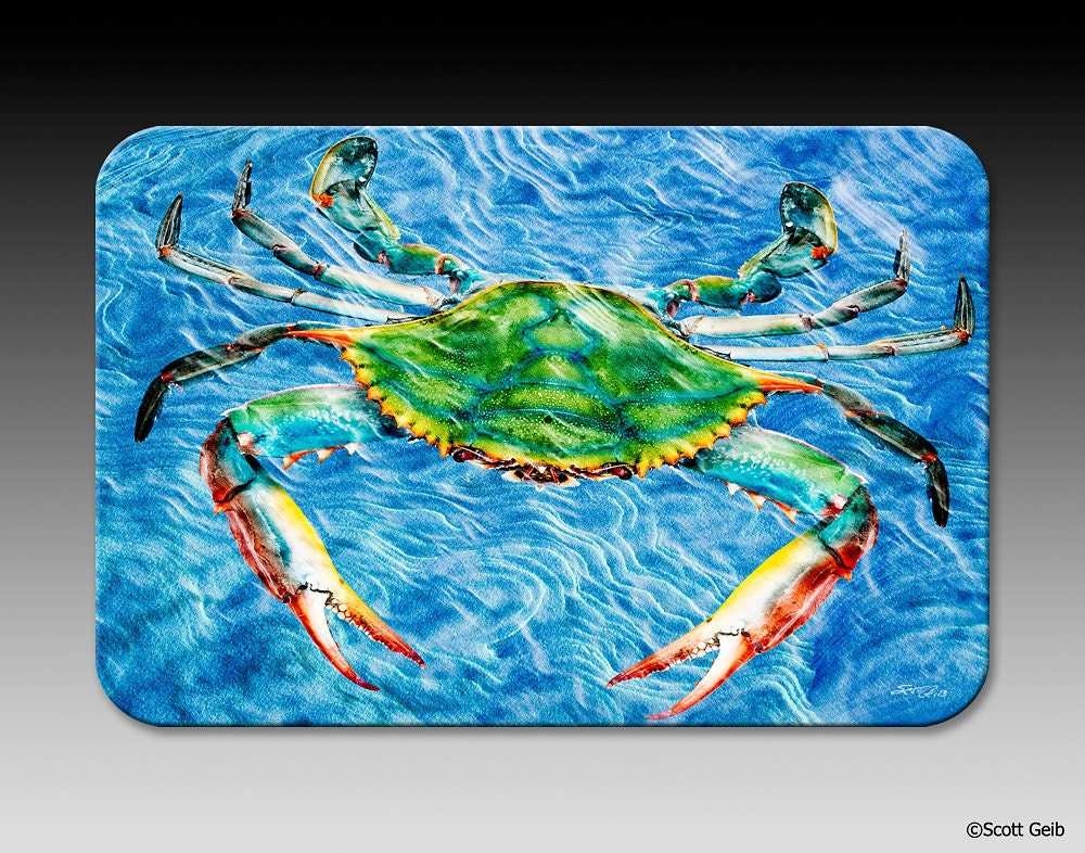 Live blue crab tempered glass cutting board trivet or serving - Tempered glass cutting board personalized ...