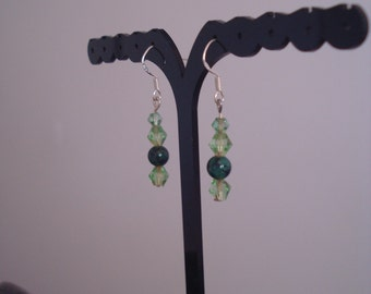 Crystal Earrings - Pale Green Crystal Bi cone with a Green Dragon Vein Bead Spacer - Women's Jewellery - Earrings
