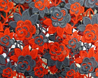 red with grey guipure lace fabric, roses, floral guipure lace, applique, dancewear decoration trim Latin Ballroom outfit **FREE SHIPPING**