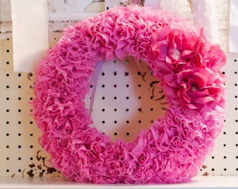 Pink Material Wreath