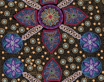 Australian Aboriginal Quilting Fabric - STELLA BLACK - sold by 1/4 metre or Fat Quarter