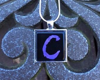 "Hand painted Monogram ""c"" Glass Pendant Necklace"
