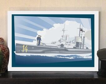 "1914 Imperial German Submarine 20""w x 13.5""h Giclee"