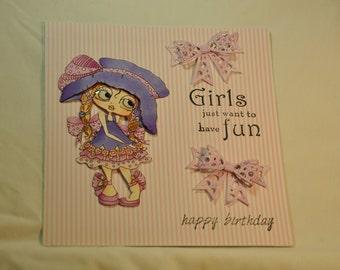 My Besties card / birthday card OOAK 3D card /cards for girls