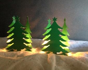 Christmas Tree Candle Holders, Set of 2 Christmas Tree Candle Holders, Green Christmas Tree Candle Holder, Christmas Decoration