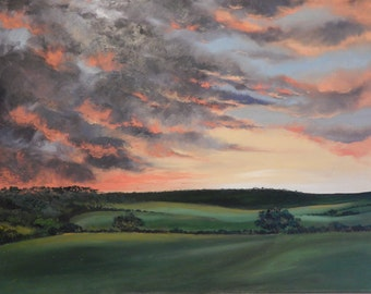 Original oil painting of sunset over Airy Hill