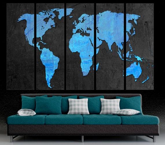 5 Panel Split World Map Canvas Print Dodger Blue Black