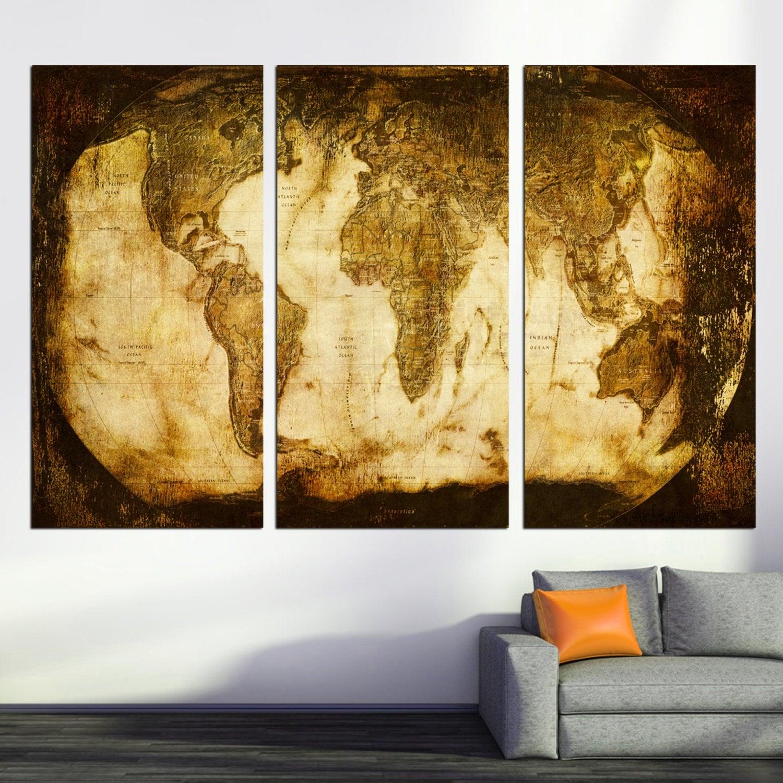 3 Panel Split Art World Map Canvas Print Triptych For: Rustic World Map 3 Panel Split Triptych Canvas Print Wall