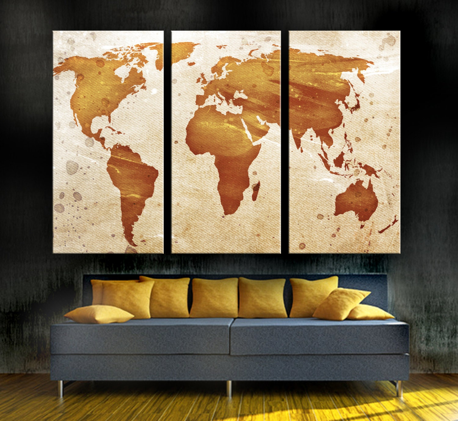 Modern Colorful Living Room World Map Canvas Etsy