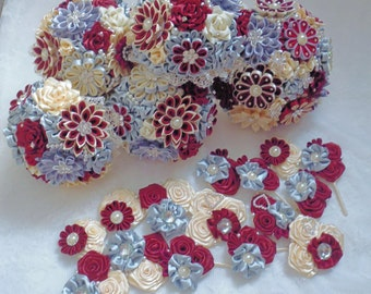 Bridal bouquet, handmade,color ivory/burgundy/silver