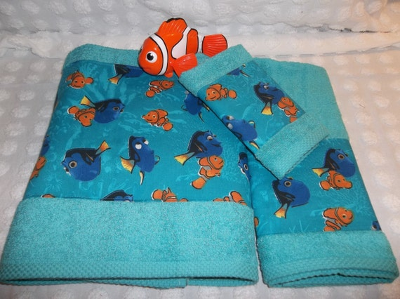 Finding Nemo And Dory 3 Piece Teal Turquoise Aqua Childrens By IdletimeTowelS
