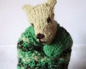 Animal hand puppet, reversible, hand knit with Irish wool from artist's sheep and black Zwartbles wool, collectible