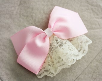 Lace Pink Hair Bow Clip