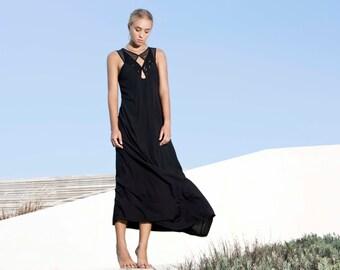 Now on Sale! Black Geometric maxi dress, Diamonds shapes cleavage, Maxi dress, Formal dress, Evening gown, Backless dress, SALE!