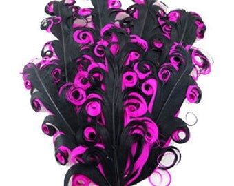 curly feather pad, feather pads, nagorie feather, curly feathers, black pink feather pad, hair accessories, supplies, nagorie feather pads