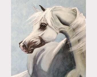 Giclee Horse Oil Painting Print, Arabian Horse Head Art, Horse Painting, Animal Print, Oil Painting,Animal Print, Animal Painting,Fine Art