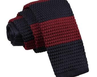 Knitted Burgundy & Navy Striped Tie