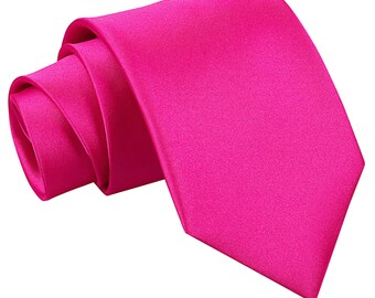 Satin Hot Pink Extra Long Tie
