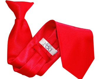 Satin Red Clip On Tie