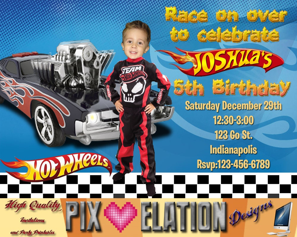 Hot Wheels Photo Head cut out Invitation Hot by ...