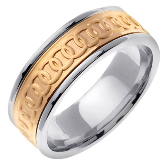 14k two tone gold celtic wedding ring band linked by