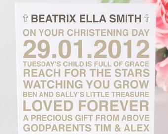 Personalised Typography Christening - Baptism - Dedication - Naming Day Card