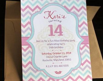 Sweet 16 Invitation 10/pk | Baby Invitation | Baby Shower Invitation | Pastel Chevron Invitation | Zig Zag Invitation