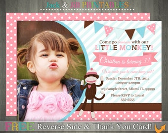 Pink & Brown Dotted Sock Monkey and Bunting Photo Invitation: DIY Invite  Printing with FREE Reverse File and Thank You!