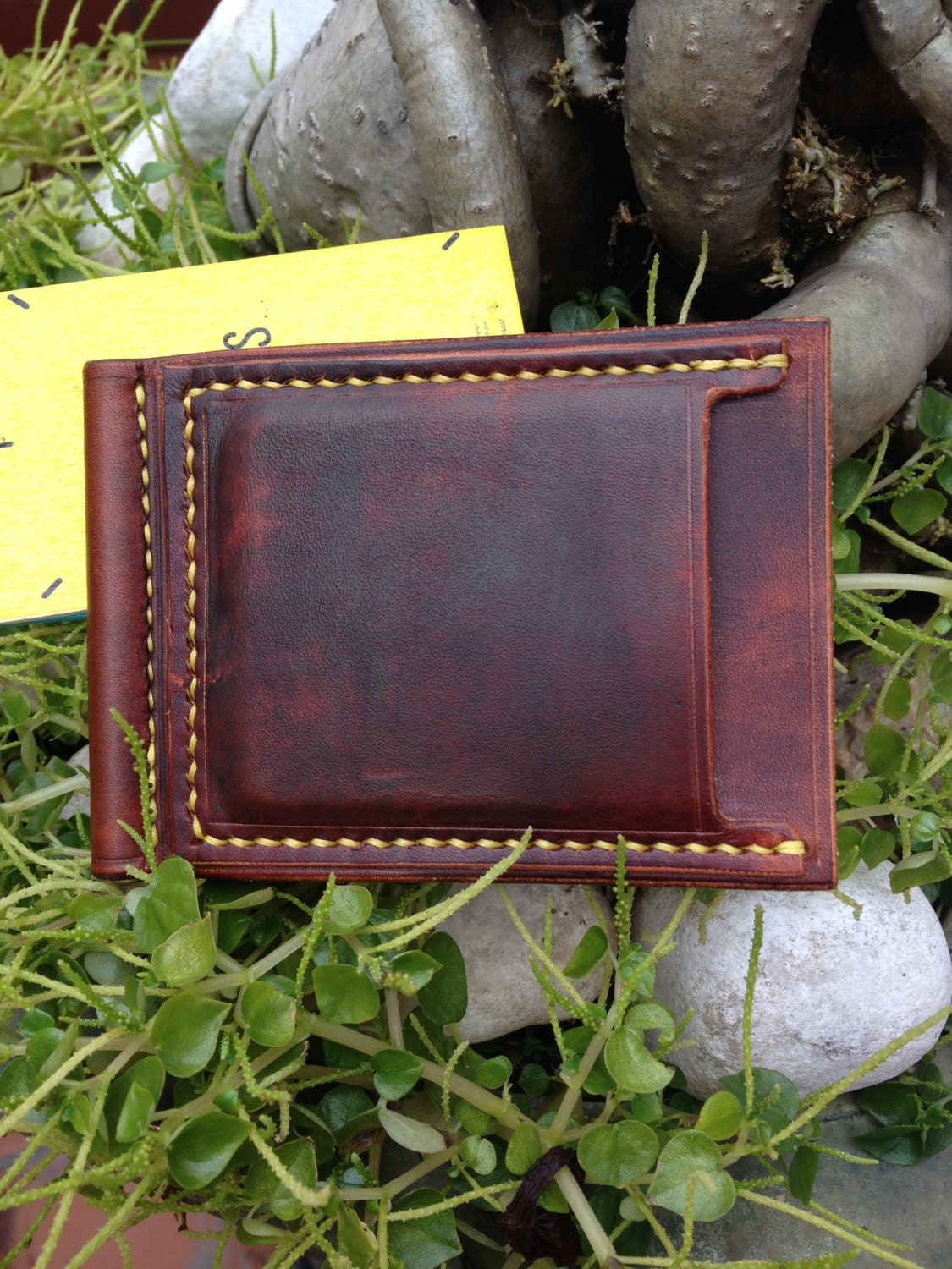Leather Money Clip Wallet Id Wallet Vegetable Tanned Leather