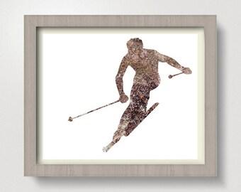Ski Print, Ski art, Downhill Skiing, Skiing Poster, Ski Wall Art, Digital, Skier, Skiing Decor,  Gender Neutral, Winter Print, Home Decor