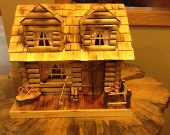 Handmade Breast Cancer Log Cabin / Birdhouse