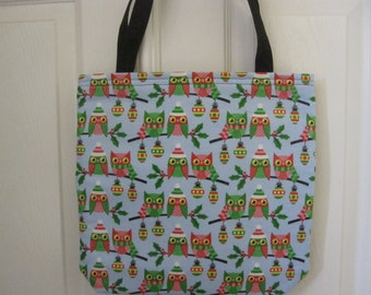 Personalized  Christmas Owls Tote Bag