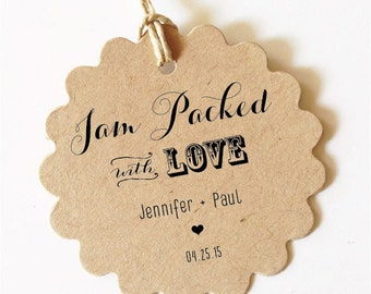 Jam Packed with Love Tags Wedding Favor Tags Wedding Jam Jar Tag Personalized Wedding Gift Tags Canning Labels Sets wedding favors