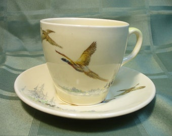 Vintage Royal Doulton Coppice demi cup & saucer - pheasants - Made in England, reg in Australia - HS-TC-012