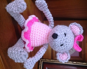 Amigurumi Mouse Ballerina Doll Stuffed Crocheted Animal Toy