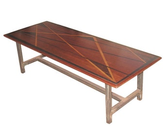 Vintage Coffee Table with Inlaid Wood Top