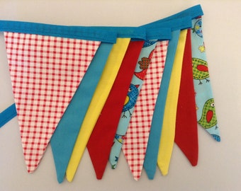 Colourful Bird Bunting, Multi Coloured, Gingham, Spring