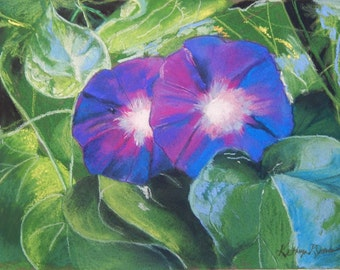 Pastel painting of purple morning glories in garden.