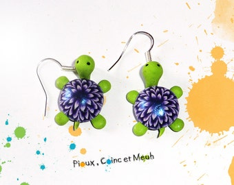 Green and violet turtle  - earring