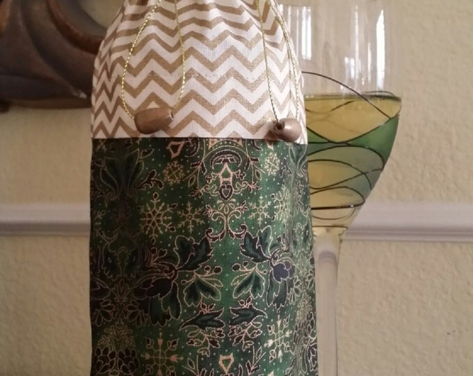 Wine Bag-Deluxe-Winter Collection (Gold Chevron n' Green Snowflake)