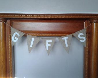 GIFTS Burlap Wedding Bunting, Wedding Garland, Wedding Banner. Hessia  Bunting, Jute Bunting, Wedding Decor.