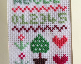 EASY, Beginner's Cross Stitch Sampler. 4X6 in. Age 6 and up