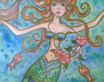 Mermaid print of a watercolor fits in a standard 11 x 14 frame