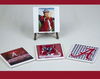 Alabama Crimson Tide SEC Football, Bear Bryant, Roll Tide, houndstooth, Alabama logo ceramic coasters set 4