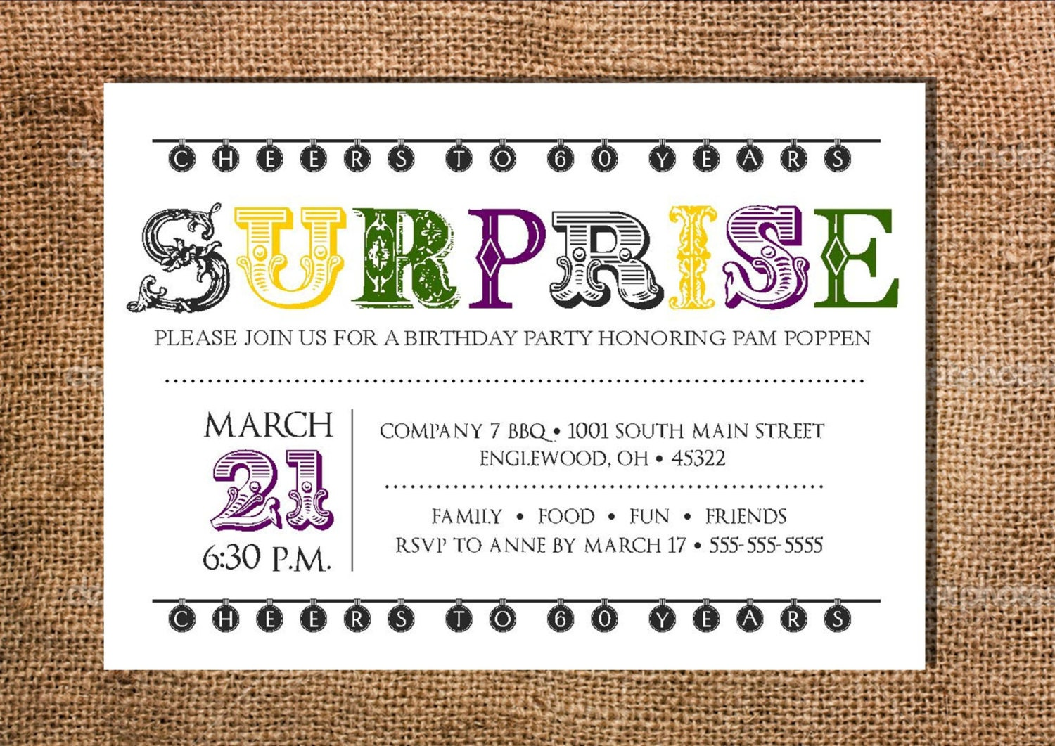 Amusant police surprise party invitation imprimable 5 x 7 - Invitation anniversaire surprise ...