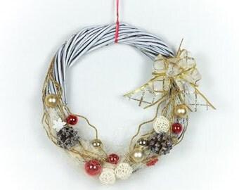 Handmade natural white Christmas wreath door decoration