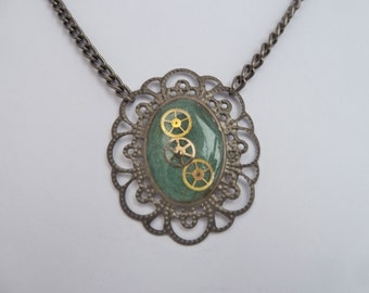 Dark Green Upcycled Necklace with Watch Parts