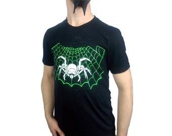 Acidwash Cobweb T-shirt - Black - Stretch - S M L XL - Glow in the Dark - Spider - Fluorescent - Spider Web - UV Reactive - Halloween